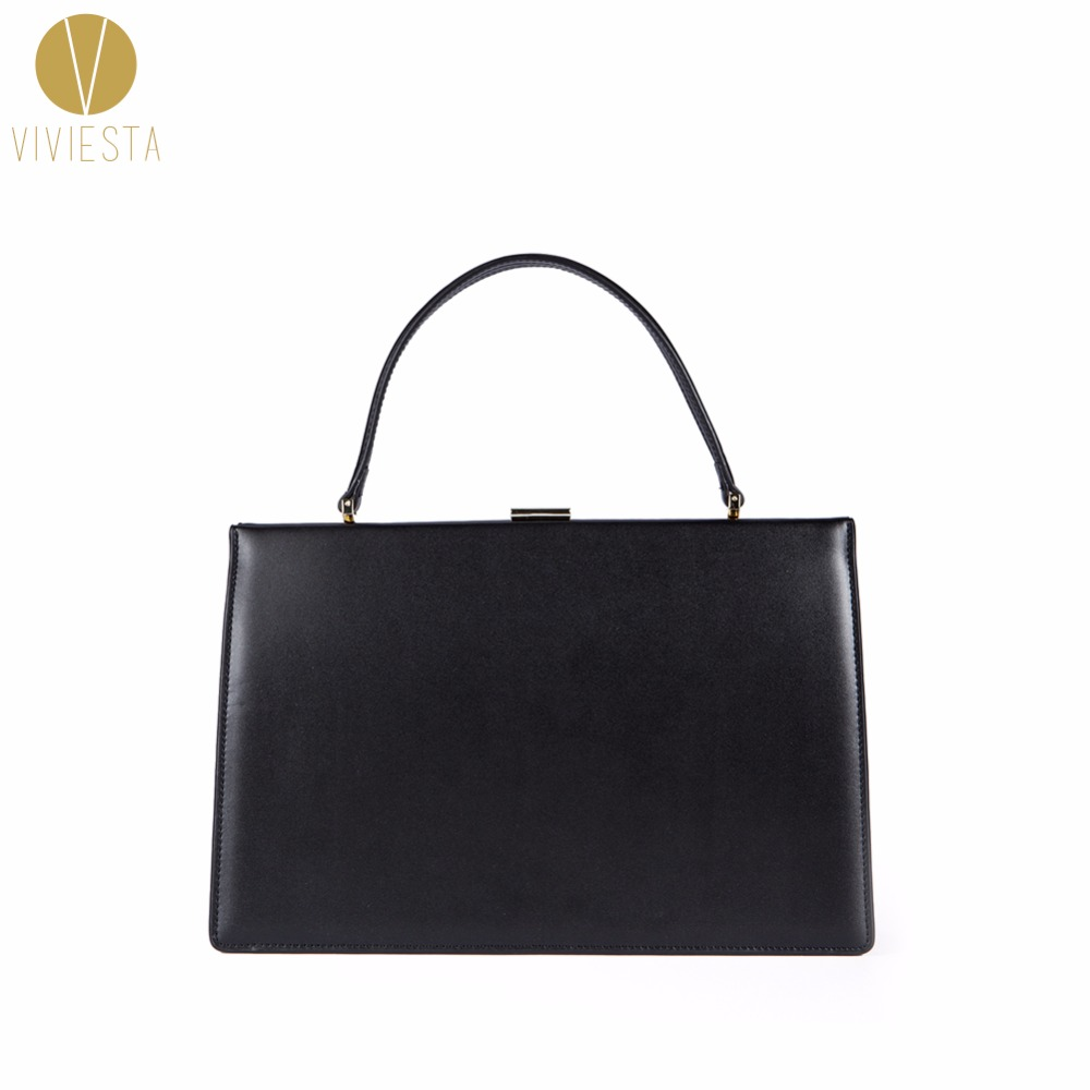 GENUINE LEATHER VINTAGE CLASP LARGE FRAME BAG Women Ladies Minimal Clean Design Formal Business Work Shoulder Top Handle Handbag