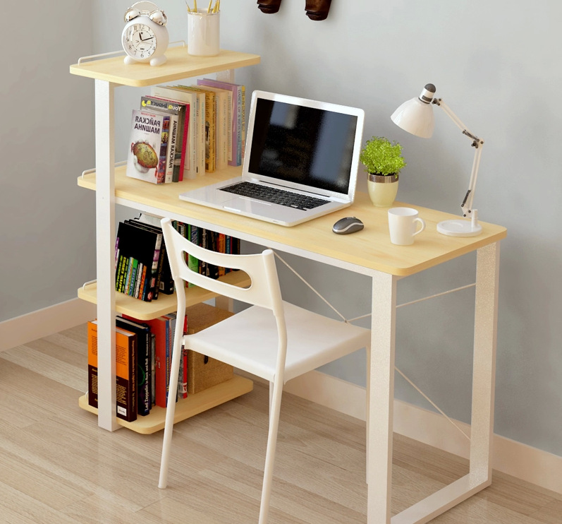 computer desks office home furniture solid wood laptop desk with bookcase