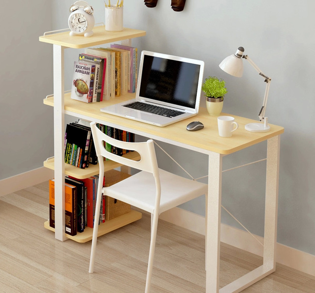 mesas de computador do escritrio para casa mveis de madeira macia mesa do laptop com estante