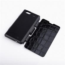 3500 мАч Черный Зарядное Устройство Резервного Копирования Питания Чехол Флип Кожаный Чехол Капа Для Sony Xperia Z1 Compact/Z1 Mini (M51w) D5503 с Подставкой