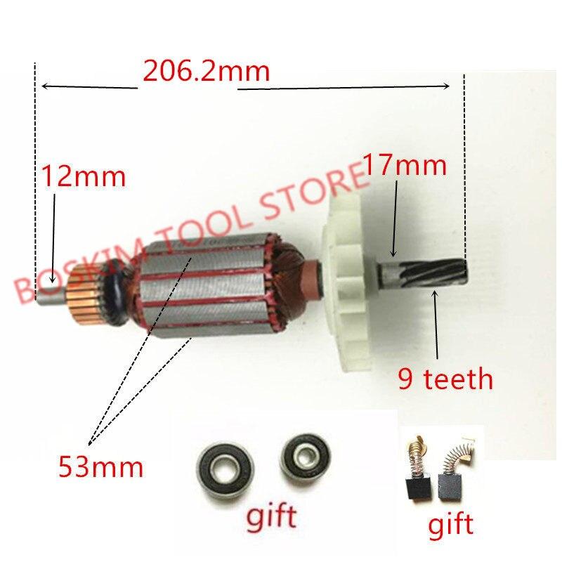 AC 220V 240V 9 teeth Anchor Armatur Engine Rotor Replacement for Hitachi 360286E 80 H65SC H65SB2