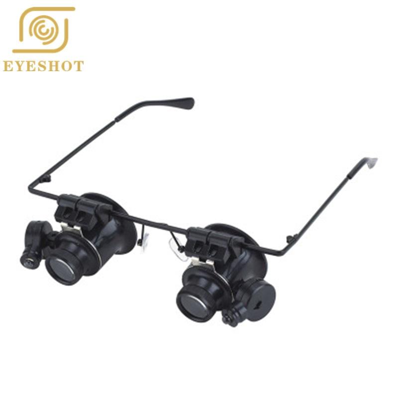 Ojo lupa Gafas resina lupa 20x ojo joyería reloj reparación lupa Gafas con  2 luces LED nueva lupa 2a4b5322313d