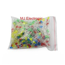 3mm LED lights red, green, yellow and blue white light emitting diode F3 LED component package five kinds of diodes each 20 pack