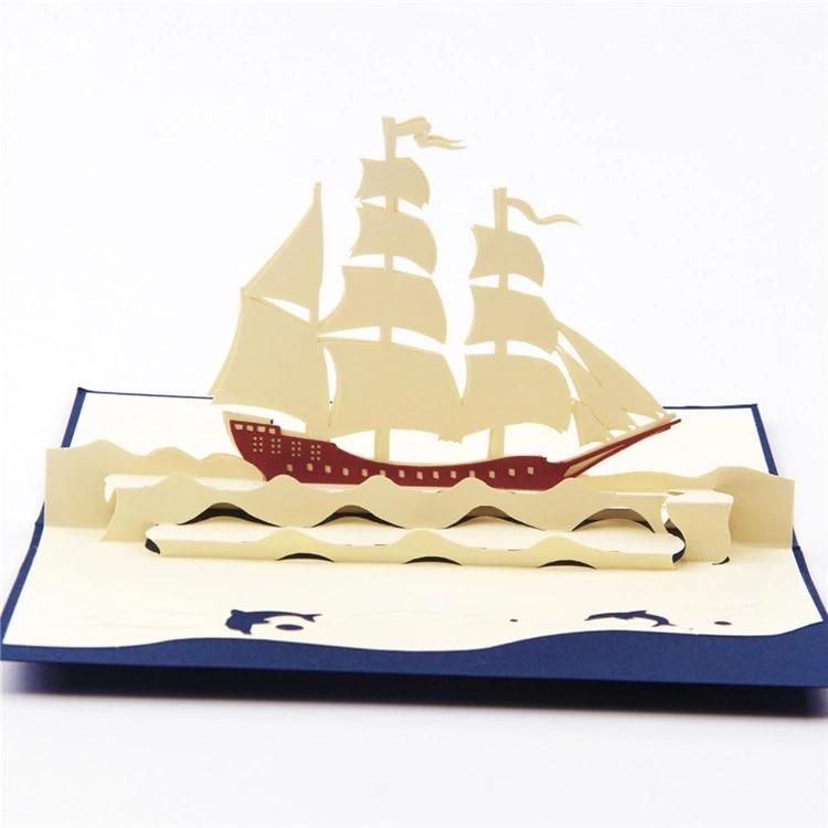 Kirigami Et Origami 10 Pieces Lot Cartes 3d Faites A La Main Carte Pop Up Bateau De Voile Creatif Invitations De Mariage Cubique Aliexpress