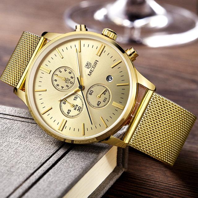 2016 nuevo estilo militar MEGIR marca diseño de moda cronógrafo hombres hombres reloj sport de acero de lujo de negocios reloj de pulsera de regalo