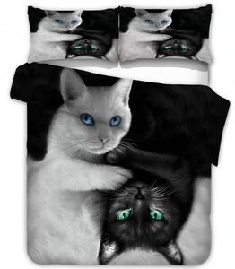 Image 1 - שחור לבן חתול מצעים סטי שמיכה כיסוי סט 2/3pcs מלכת מלך שמיכת כיסוי מצעים מצעי (אין גיליון אין מילוי)