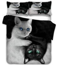 Jogo de cama de gato branco e preto, conjunto de roupa de cama duvet capa de 2/3 peças de roupa de cama king colcha (sem folha de enchimento)