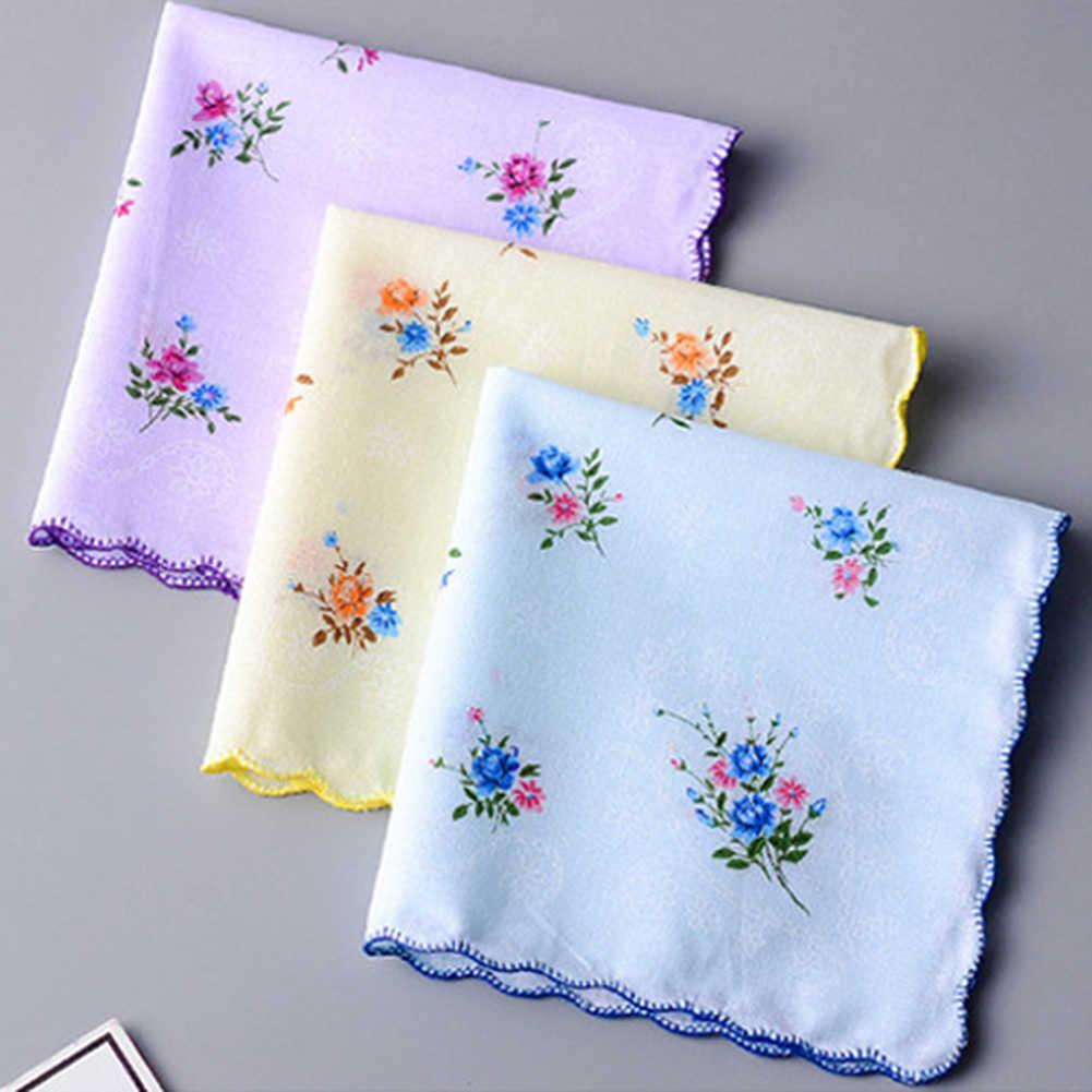 Оптовая продажа 5 шт./лот разноцветные носовые платки для женщин хлопок Цветочный вышитый шарф Карманный платок случайный цвет