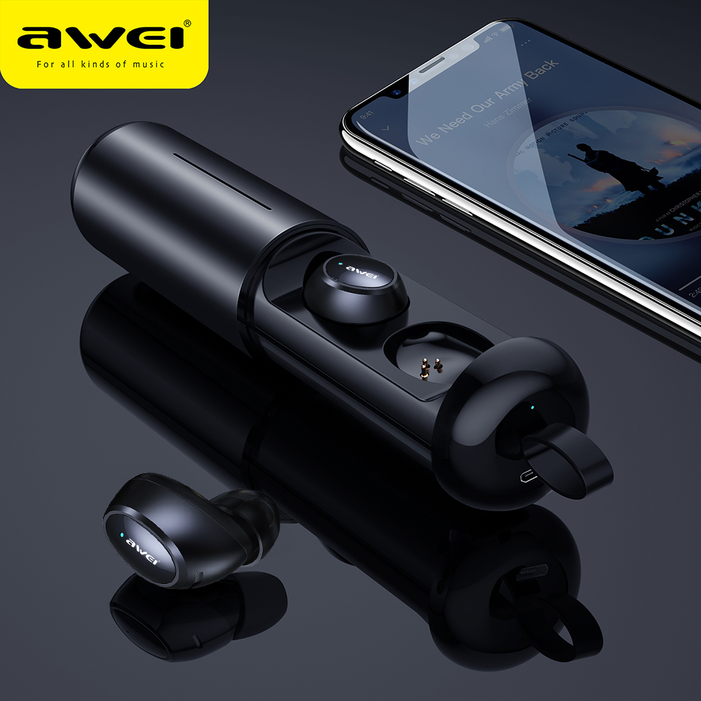 DRXENN Awei <font><b>T5</b></font> <font><b>TWS</b></font> Bluetooth Earphone Headphone With Mic Wireless Earbuds Bluetooth 5.0 Headset With Charge Case For Smart Phone image