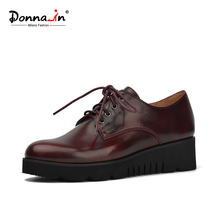 Donna-in 2016 autumn new british style women shoes leather lining lace-up platform shoes