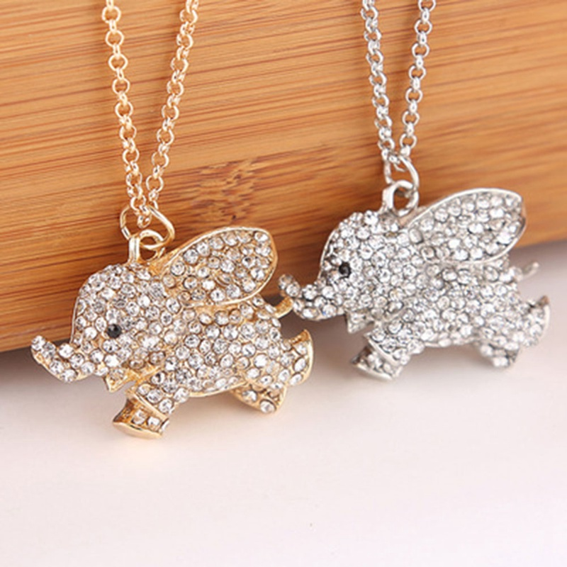 Cute Elephant Pendant Necklace Women's Clavicle Chain Fashion Full Rhinestones Elephant Necklace