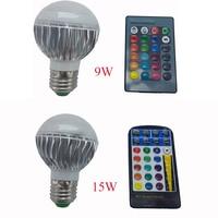9 W 15 W E27 RGB LED de Luz 85-265 V E27 LED RGB de La Lámpara Lampada LED Bombilla de Alta Potencia de Múltiples Colores Cambian Con Control Remoto IR controlador