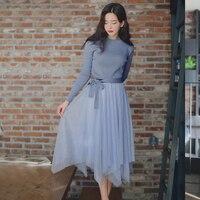 2019 New Antumn Winter Fashion Goddess Fan Blue Trend Skirt Knitting Temperament Two piece Set Decorated Slim Sweater Mesh Skirt
