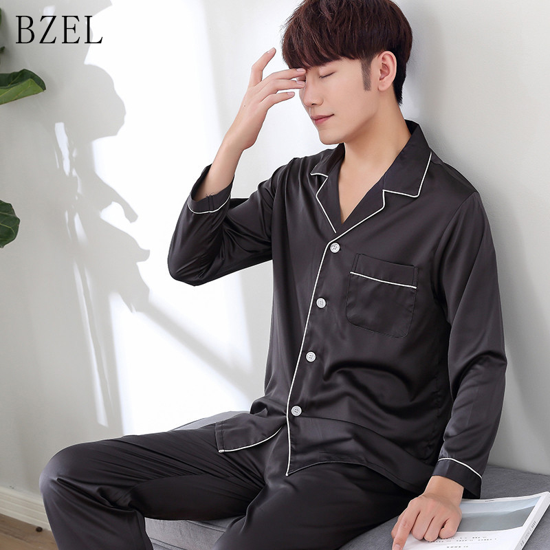 BEZL Silk Satin Pajamas Sets Long Sleeve Homewear Turn-down Collar Sleepwear Male Pyjamas Leisure Home Cloth Two Piece Set L-3XL
