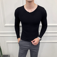 Korean Simple Brand Sweater Men Fashion Men Clothes 2018 Long Sleeve Slim Fit Sweaters Mens Casual V Neck Knitted Pull Homme Hot