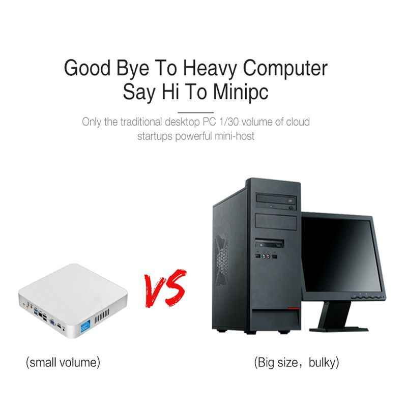 Xcy Mini Komputer PC Intel Core I7 7500U Prosesor DDR4 Ram Windows/10 Linux PC Game 4K UHD htpc HDMI Vga Wifi Desktop X26UL