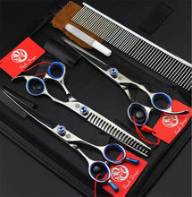 7 inch Professional Pet Scissors Set Cutting Thinning Curved Scissors+Comb 3pcs/Sets Japan 440C High Quality Dog Grooming Shears(China)
