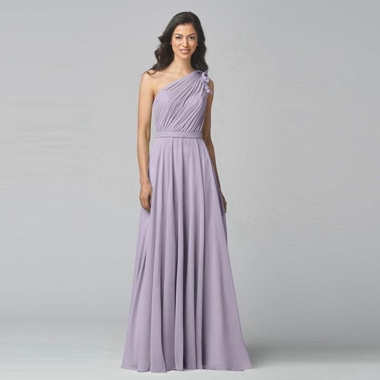 Lavender Chiffon One Shoulder Bridesmaid Dress For Party Long Plus
