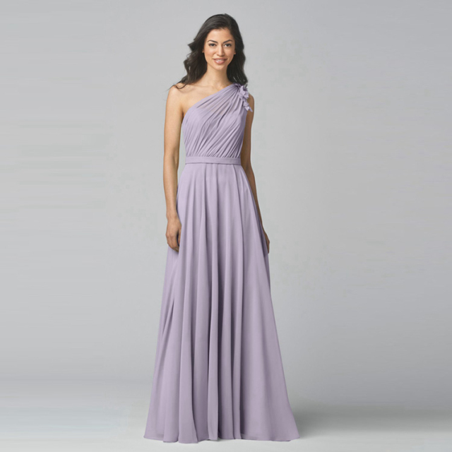 Lavender Chiffon One Shoulder Bridesmaid Dress For Party Long Plus Size Dresses Under 100 Junior