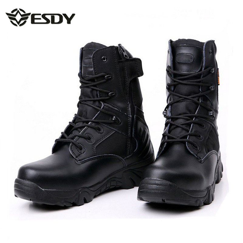 Men Army Military Combat Desert Tactical Boot Outdoor High Tube Lace Up Mountaineering Hiking Skid Resistance Ankle Leather Shoe