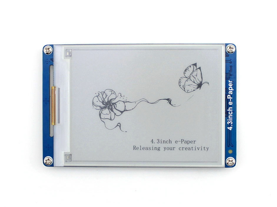 Waveshare 4.3inch Serial Interface Electronic Paper Display With Embedded Font Libraries E-Ink Display 800x600 Resolution