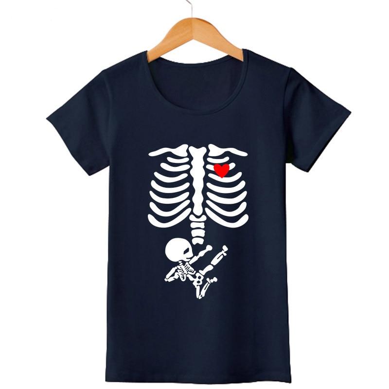Pregnant mom baby t shirt womens lover skull printed short for T shirt design sleeve print