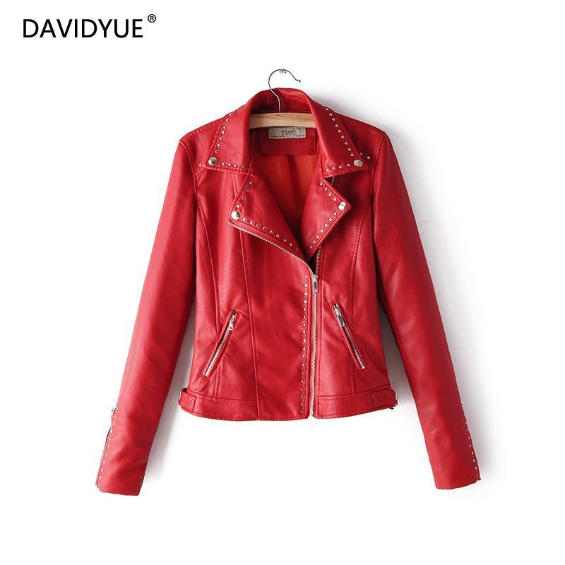 Rot faux leder jacken biker frau riverdale zipper lederjacke damen drehen unten kragen mantel mit leder ärmeln