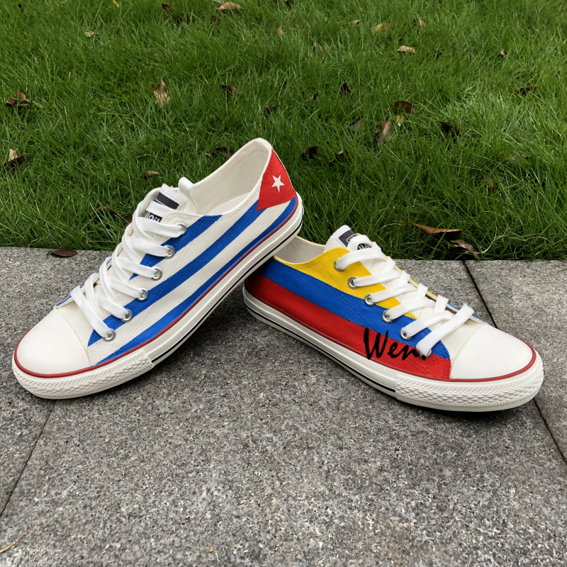 Wen Design Custom Hand Painted Shoes Columbia and Cuba Flag Low Top Man Woman's Canvas Sneakers for Christmas Gifts cuba top 10 карта