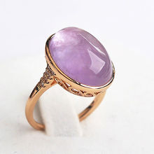 Retro Luxury Natural Stone Rose Gold Color Big Opal Green Purple Stone Ring chrysoprase Rings Women