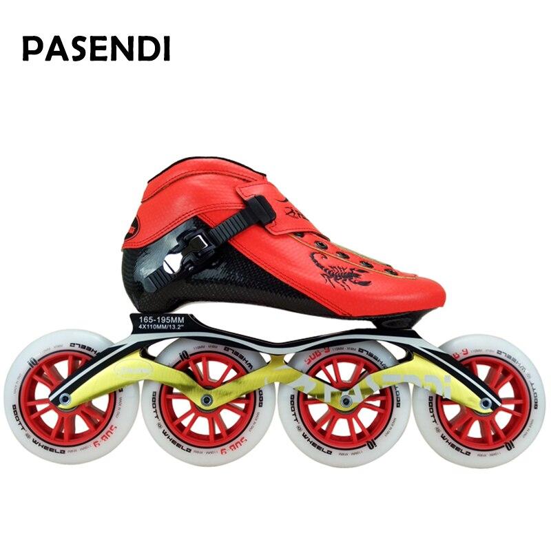 Fibre de carbone chaussures de patinage de vitesse professionnelles femmes/hommes patins à roues alignées chaussures de course chaussures de patinage adulte enfant bottes de patin à roulettes - 2