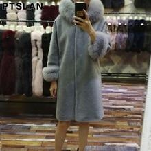 Ptslan 2017 Women Winter Sheep Fur Outwear Coat With Big Fox Fur Collar Sheep Fur Fashion Jacket Coat