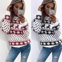 Женский джемпер, свитер, пуловер, топы, пальто на Рождество, зимние женские теплые короткие свитера для девочек, одежда