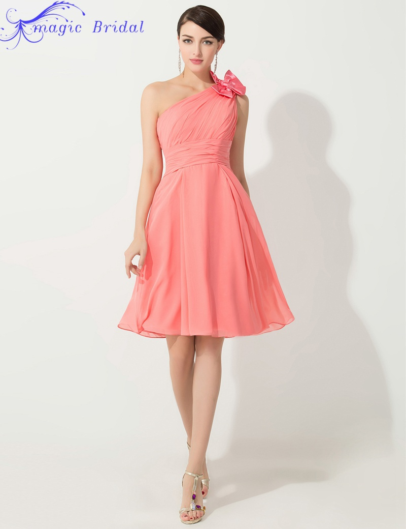 Cheap One Shoulder Coral Colored Bridesmaid Dresses Knee