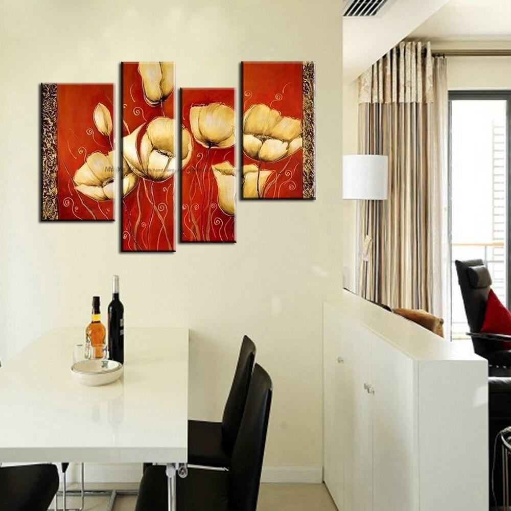 Muya moderne pitture a olio astratte di papavero rosso ...