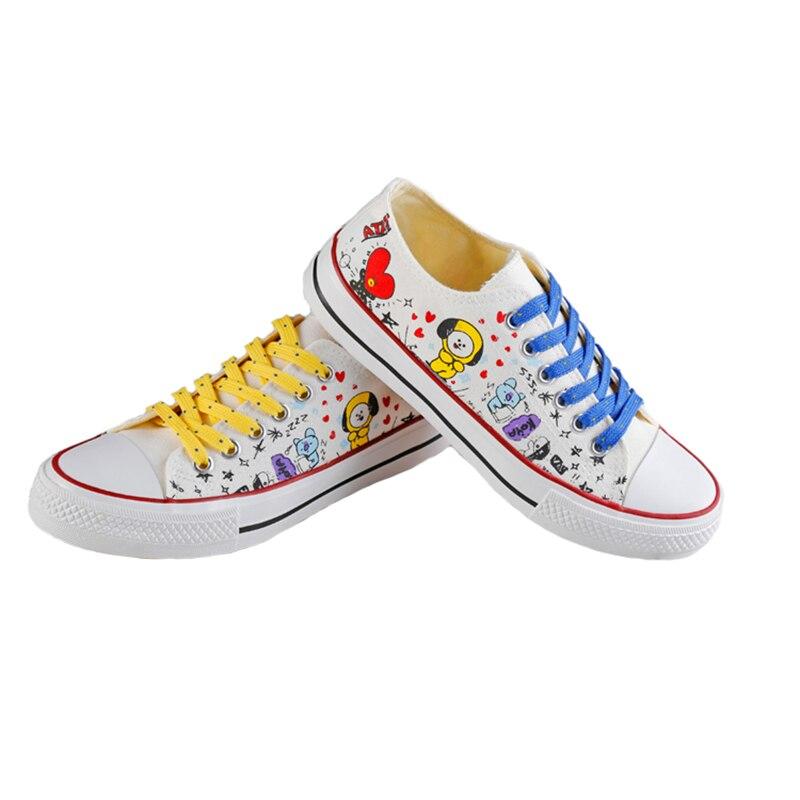 New KPOP BTS Bangtan Boys BT21 Low Tops Canvas Shoes JUNG KOOK JIMIN V Suga Women Casual Soft Non-slip Shoes Drop Ship