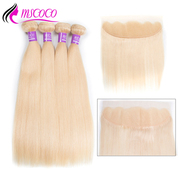 Mscoco Straight Hair Blonde Bundles With Frontal 3 Blonde Bundles With Closure Remy Peruvian Human Hair 613 Bundles With Frontal lingerie top