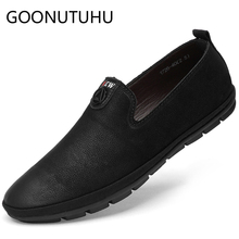 2019 new fashion men' shoes casual genuine leather loafers male classic black slip on shoe flats driving shoes for men hot sale все цены