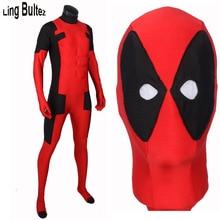 Ling bultez alta calidad más nueva deadpool deadpool traje con relleno de músculo nuevo rojo spandex traje de halloween cosplay