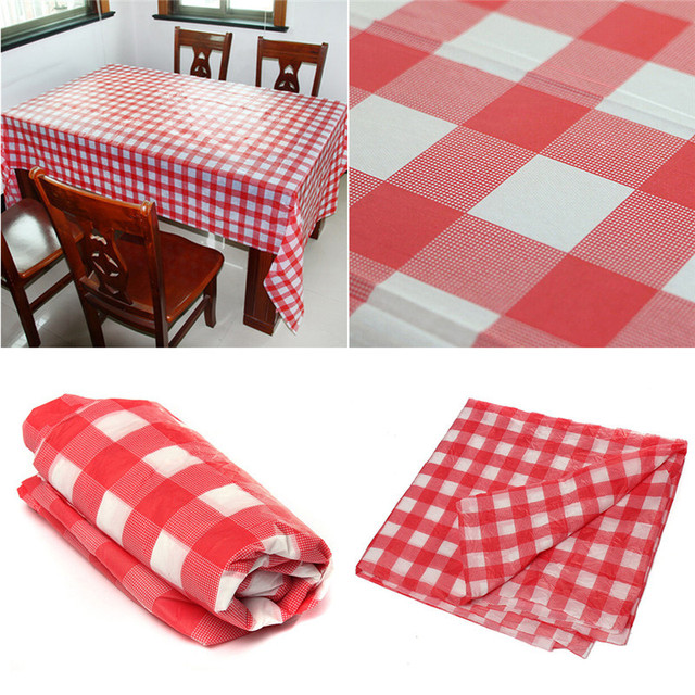 137x274cm Red Grid Disposable Tablecloth Peva Table Cloth Tableware For Wedding Birthday Christmas Family Party Decoration