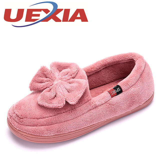 913968e025cf Fashion Warm Slippers Women Indoor Pantufas Winter Slip On Cotton Slipper Home  Shoes Soft Floor Household Female Plush Pantufas