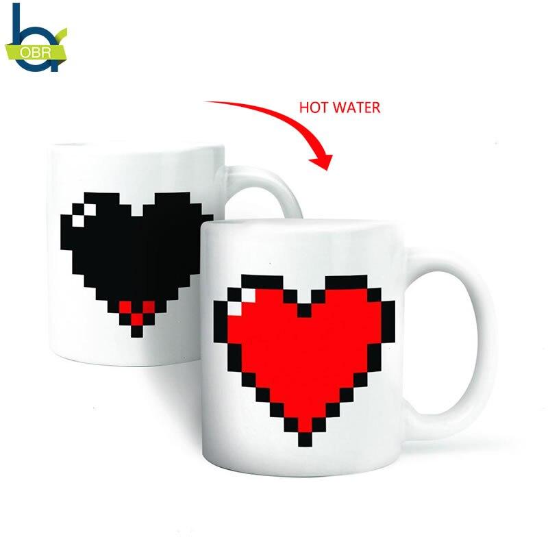 OBR Creative Color Changing Ceramic Mug Love Heart Pattern Magic Heat Sensitive Cup Coffee Tea Milk Mug Novelty Couple Gift Mug