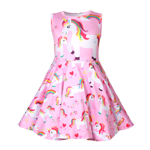 Baby girl clothes unicorn dress kids rainbow printed for Girls Halloween costume cosplay Party 1247