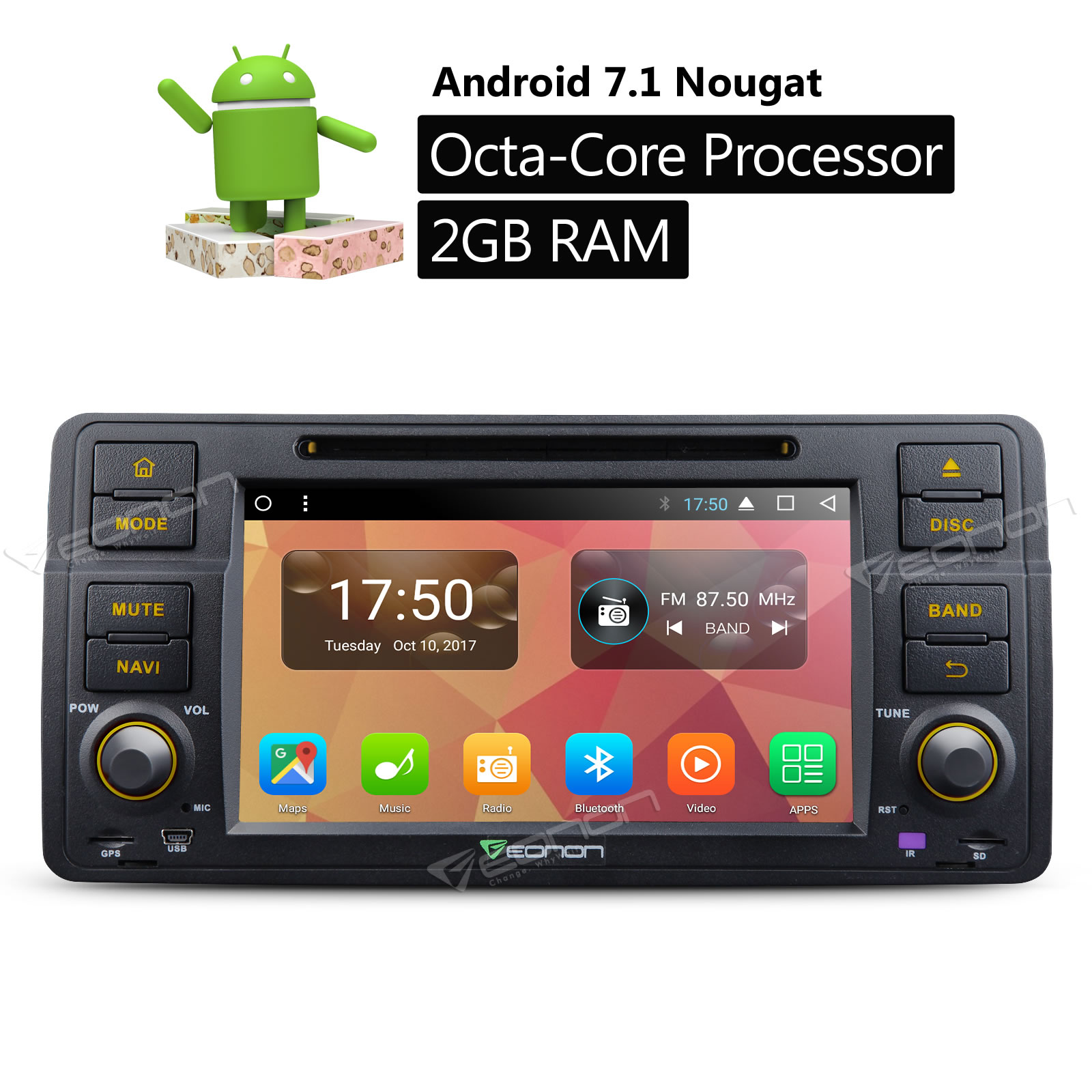 eonon ga8150a 7 android 7 1 car stereo dvd gps tracker. Black Bedroom Furniture Sets. Home Design Ideas
