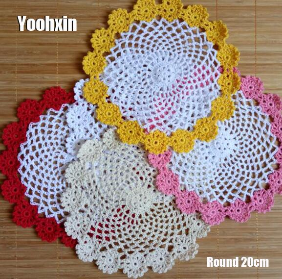 Handmade Lace Cotton Table Place Mat Crochet Coffee Round Placemat