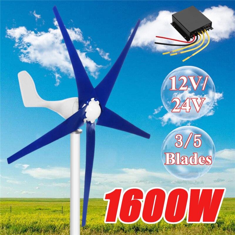 1600 W 12/24 V viento generador de turbina 3/5 viento hojas OptionWind controlador regalo apropiado para hogar + accesorios de montaje de bolsa