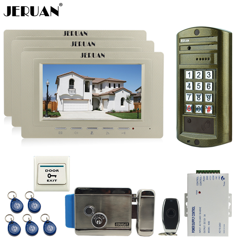 JERUAN 7 inch Video Doorbell Intercom Door Phone System kit NEW Metal Waterproof Access Password keypad HD Mini Camera +E-Lock jeruan 8 inch tft video door phone record intercom system new rfid waterproof touch key password keypad camera 8g sd card e lock