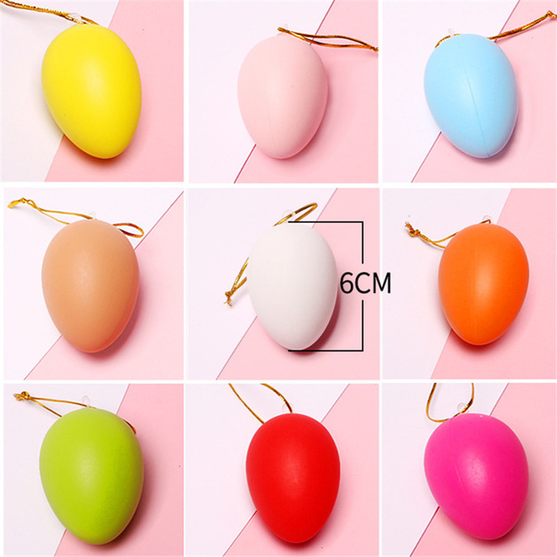 DIY Toys Easter Egg Children's Creative Handmade Cartoon Painted Eggshell Plastic Craft With Rope Hanging For Kids Gifts