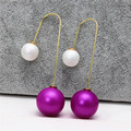 2016 new design fashion brand jewelry double pearl stud earrings for women gold plated beads simple long earrings Christmas gift