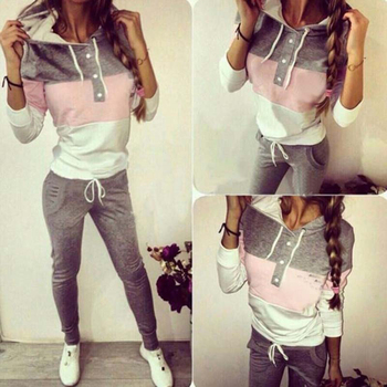 Patchwork Button Drawstring 2 Two Piece Set Top And Pants Elastic Tracksuit