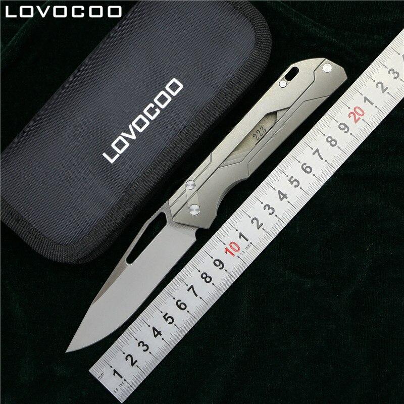 LOVOCOO MECHANIC MAESTRO Flipper coltello pieghevole lama di Titanio della maniglia di campeggio Esterna di caccia coltelli da tasca sopravvivere M390 EDC strumento